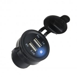 Nabíječky, adaptéry a redukce - 2x USB nabíječka voděodolná zásuvka do panelu