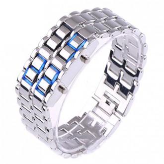 Hodinky - Digitální hodinky Samurai s LED podsvícením stříbrné