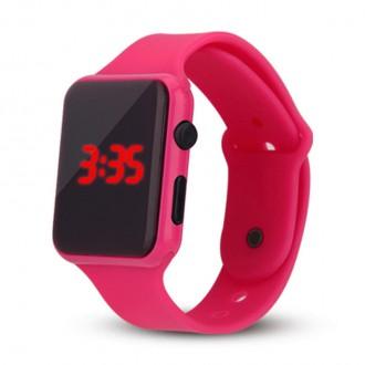 Hodinky - Silikonové digitální hodinky - růžové