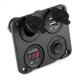 Nabíječky, adaptéry a redukce - Vypínač, voltmetr, 2x USB, CL auto-zásuvka do panelu