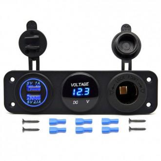 Nabíječky, adaptéry a redukce - Voltmetr, 2x USB, CL auto-zásuvka do panelu