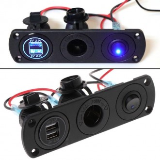Nabíječky, adaptéry a redukce - 2X USB nabíječka, CL auto-zásuvka a vypínač do panelu