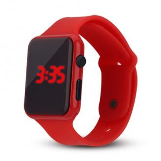 Hodinky - Silikonové digitální hodinky - červená