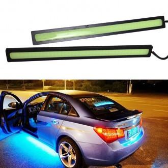 LED osvětlení - 2x COB LED pásek do auta 12V 6W modrý