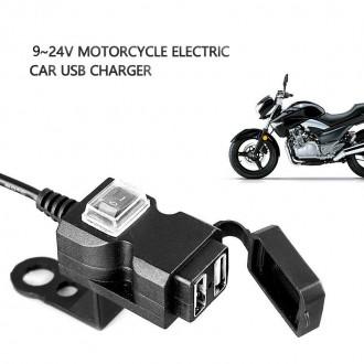 Nabíječky, adaptéry a redukce - Vodě-odolná USB zásuvka s vypínačem na motorku