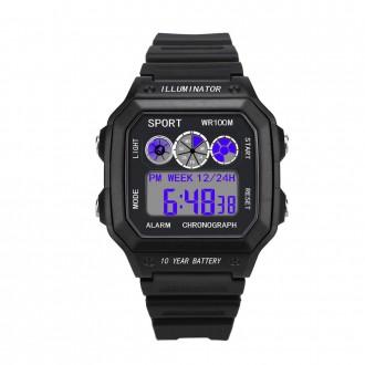 Hodinky - Pánské digitální hodinky s modrým podsvícen
