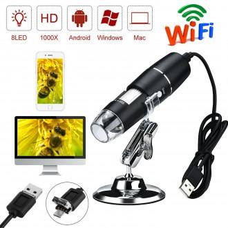 Mikroskopy a lupy - Bezdrátový digitální mikroskop WIFI USB 1000x