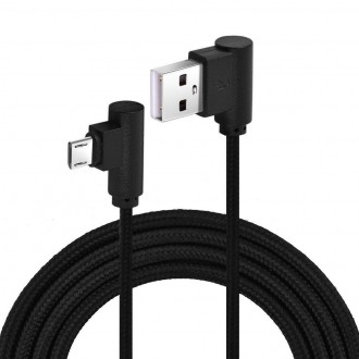 Příslušenství pro mobily - Nylonový kabel USB Micro 3M černý