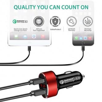 Nabíječky, adaptéry a redukce - USB autonabíječka s rychlonabíjením Qualcomm a voltmetr