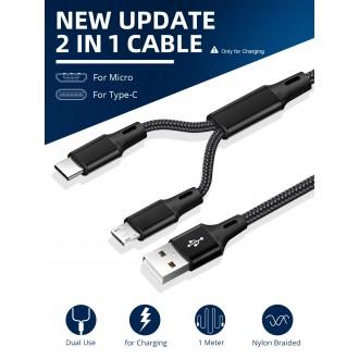 Příslušenství pro mobily - 2v1 nylonový kabel USB micro USB C
