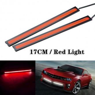 LED osvětlení - 2x COB LED pásek do auta 12V 6W červená