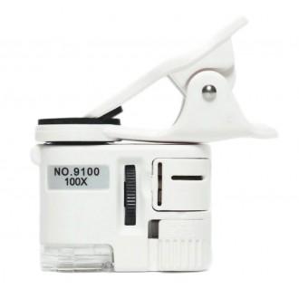Mikroskopy a lupy - Mikroskop 100x pro mobilní telefony s LED a UV přísvitem