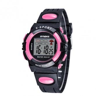 Hodinky - Dětské digitální hodinky značky Synoke, růžové