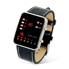 Binární led hodinky + dárek Silikonové náramkové hodinky - digitální černé zdarma