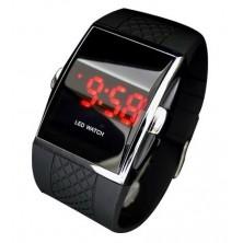 Stylové digitální hodinky s červenými LED + dárek Silikonové náramkové hodinky - digitální růžové zdarma