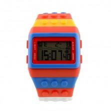 digitální hodinky z Lego kostek + dárek Silikonové náramkové hodinky - digitální fialové zdarma