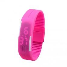 Digitální hodinky na běhání - růžové + dárek Silikonové náramkové hodinky - digitální fialové zdarma
