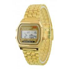 Retro digitálky, zlaté digitální hodinky + dárek Silikonové náramkové hodinky - digitální černé zdarma