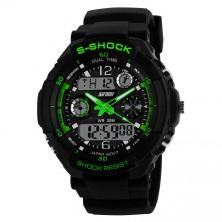 Sportovní digitální hodinky Skmei zelené + dárek Silikonové náramkové hodinky - digitální fialové zdarma