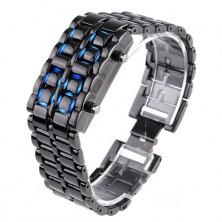 Stylové digitální hodinky Samurai s LED podsvícením + dárek Silikonové náramkové hodinky - digitální černé zdarma