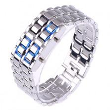 Digitální hodinky Samurai s LED podsvícením stříbrné + dárek Silikonové náramkové hodinky - digitální černé zdarma