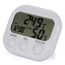 Digitální teploměr s vlhkoměrem, časem a alarmem + dárek Silikonové náramkové hodinky - digitální modré zdarma