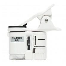 Mikroskop 100x pro mobilní telefony s LED a UV přísvitem
