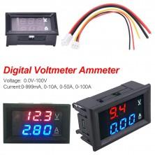 Panelový digitální voltmetr + ampérmetr 100V 10A DC
