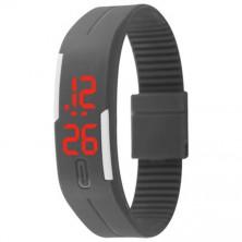 Digitální hodinky na běhání - světle šedá + dárek Silikonové náramkové hodinky - digitální fialové zdarma