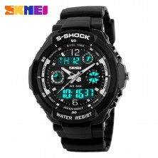 Sportovní digitální hodinky Skmei stříbrné + dárek Silikonové náramkové hodinky - digitální černé zdarma